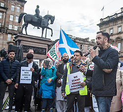 Muslims Stand Against Terrorism held a rally in George Square, Glasgow in condemnation of the terror attacks in Manchester and London. Speakers included Aamer Anwar (pictured).<br /> <br /> © Dave Johnston/ EEm