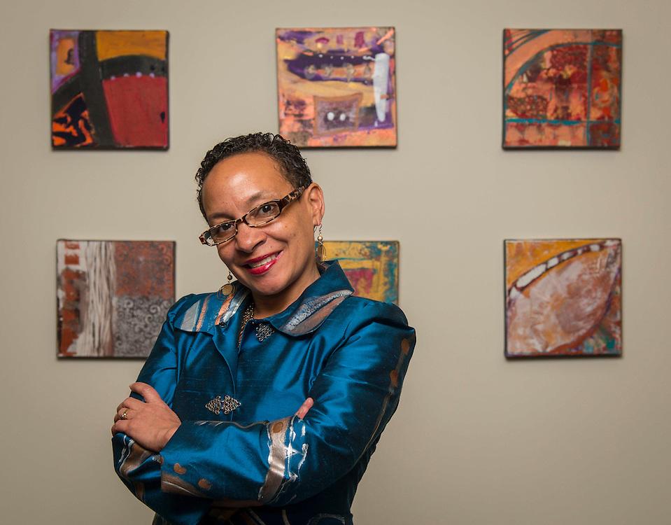 Bellaire High School graduate Rhonda Radford-Adams poses for a photograph in her studio, January 16, 2015.