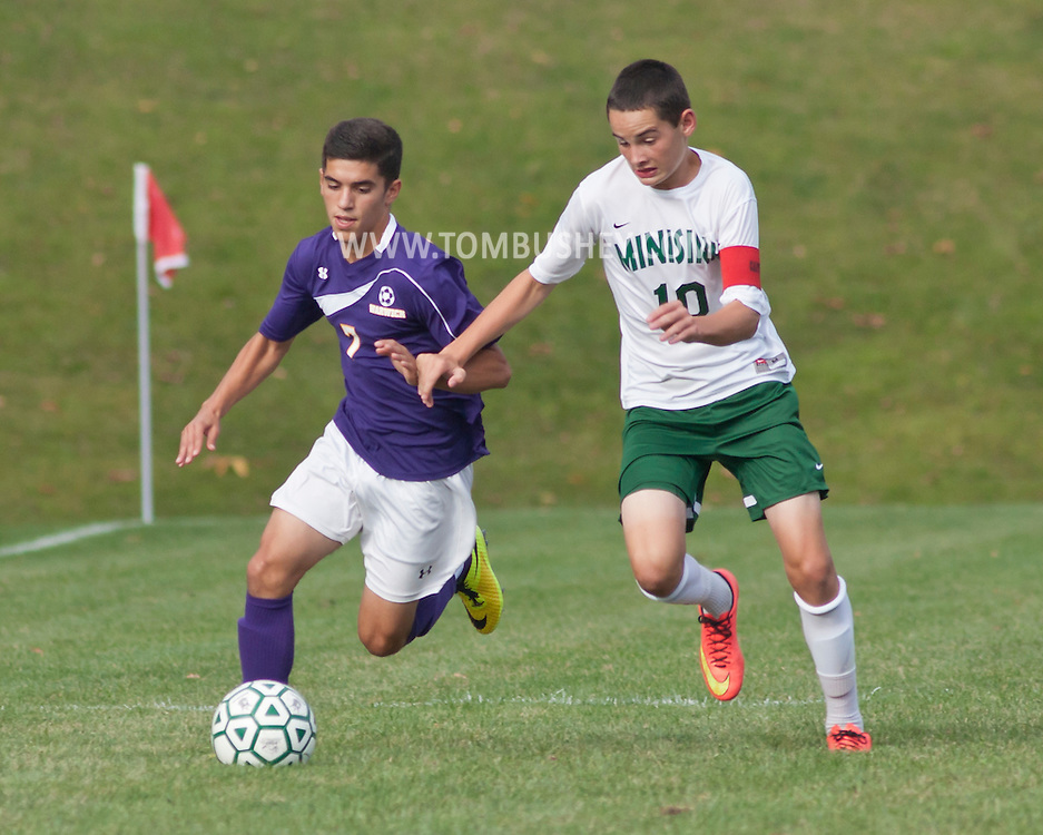Slate Hill, New York - Warwick plays Minisink Valley in a varsity boys' soccer game on Sept. 16, 2014.
