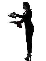 one  woman waiter butler opening catering dome in silhouette on white background