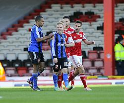 Swindon Town's Alex Pritchard is sent off for an off the ball incident with Bristol City's Wade Elliott - Photo mandatory by-line: Joe Meredith/JMP - Mobile: 07966 386802 15/03/2014 - SPORT - FOOTBALL - Bristol - Ashton Gate - Bristol City v Swindon Town - Sky Bet League One