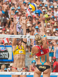 03.08.2013, Klagenfurt, Strandbad, AUT, A1 Beachvolleyball EM 2013, Finale Damen, Spiel 72, im Bild links Liliana FERNÁNDEZ STEINER 1 ESP, Stefanie Schwaiger 1 AUT // during Gold Medal Match match 72 of the A1 Beachvolleyball European Championship at the Strandbad Klagenfurt, Austria on 2013/08/03. EXPA Pictures © 2013, EXPA Pictures © 2013, PhotoCredit: EXPA/ Mag. Gert Steinthaler