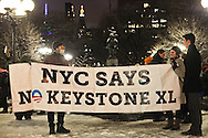 Citizens and activists from Sierra Club, Rainforest Action Network, 350.Org and more than a dozen other groups gather for a vigil in Union Square in New York City, to send the message that the Keystone XL pipeline is a disaster for the climate.
