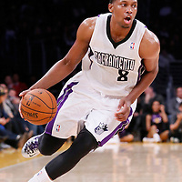 28 February 2014: Sacramento Kings small forward Rudy Gay (8) dribbles during the Los Angeles Lakers 126-122 victory over the Sacramento Kings at the Staples Center, Los Angeles, California, USA.