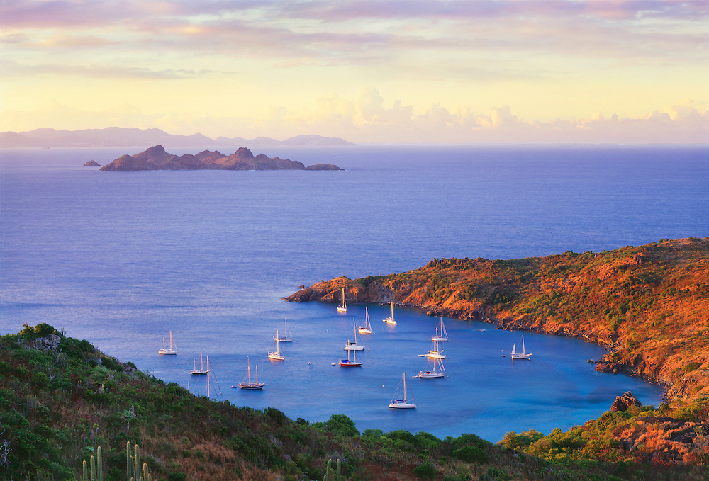 6208-1006 ~ Copyright: George H. H. Huey ~ St. Barts. Anse du Colombier harbor with boats at anchor. Marine Reserve. Access by boat or 30 minute hike only. Island of St. Barts, Leeward Islands, Lesser Antilles, Caribbean.