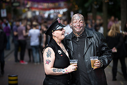 "© Licensed to London News Pictures . 22/08/2014 .  Manchester , UK . Maggie Davies (51 from Collyhurst) and Chris Rowlanson (41 from Blackley) on Canal Street . Manchester Pride "" Big Weekend "" in Manchester's "" Gay Village "" today ( 22nd August 2014 ) . Photo credit : Joel Goodman/LNP"