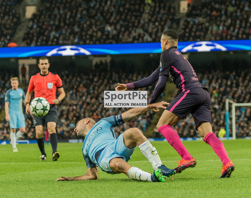 Manchester City defender Pablo Zabaleta (5) and Barcelona forward Neymar (11) challenge for a loose ball in the UEFA Champions League match between Manchester City and Barcelona <br /> <br /> (c) John Baguley | SportPix.org.uk