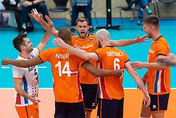 08-09-2018 NED: Netherlands - Argentina, Ede<br /> Second match of Gelderland Cup / Dirk Sparidans #5 of Netherlands, Gijs Jorna #7 of Netherlands, Thijs ter Horst #4 of Netherlands