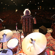 BREVARD, NC - SEPTEMBER 12 : The David Grisman Quintet - including l-r  including l-r George Marsh on drums , Grant Gordy on guitar, David Grisman on mandolin and Jim Kerwin on bass -performs in the Mountain Song Festival at The Brevard Music Center on September 12, 2009,  in Brevard, North Carolina, USA. (Photo by Logan Mock-Bunting/Getty Images)