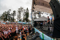 "The rock band ""Children Collide"" perform at a concert on the beach during the Australian Open of Surfing at Manly Beach, Sydney, New South Wales, Australia."
