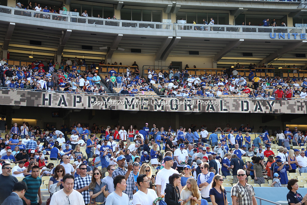 LOS ANGELES, CA - MAY 27:  A Happy Memorial Day sign is posted in honor of Memorial Day at the Los Angeles Dodgers game against the Los Angeles Angels of Anaheim on Monday, May 27, 2013 at Dodger Stadium in Los Angeles, California. The Dodgers won the game 8-7. (Photo by Paul Spinelli/MLB Photos via Getty Images)