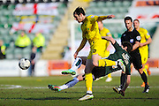 Oxford Utd's Danny Hylton is tackled by Plymouth Argyle's Curtis Nelson during the Sky Bet League 2 match between Plymouth Argyle and Oxford United at Home Park, Plymouth, England on 5 March 2016. Photo by Graham Hunt.