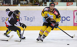 30.01.2015, Albert Schultz Eishalle, Wien, AUT, EBEL, UPC Vienna Capitals vs Dornbirner Eishockey Club, 43. Runde, im Bild Alexander Feichtner (Dornbirner Eishockey Club) und Nicolas Deschamps (UPC Vienna Capitals) // during the Erste Bank Icehockey League 43th round match between UPC Vienna Capitals and Dornbirner Eishockey Club at the Albert Schultz Ice Arena in Vienna, Austria on 2015/01/30. EXPA Pictures © 2015, PhotoCredit: EXPA/ Alexander Forst