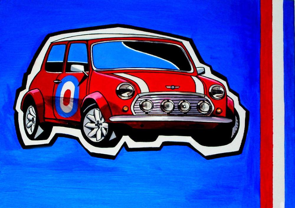 Mini painting. Mod style. acrylic on canvas by British artist Adrian Dewey