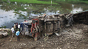 A view of a incident side, where the engine and the coaches of train were lying on the ground, when anti-talks faction of the National Democratic Front of Bodoland (Ranjan Daimary Group) that is, shortly say - NDFB (R), one of the insurgent group of northeast India, triggered a powerful blast, which flung the locomotive and two numbers of coach of a train (known as - Garib Rath Express) bound for Kolkata (capital of Indian State West Bengal) from Guwahati, the capital of Eastern Indian State, Assam at around 02:28 am, killing a 06-year-old boy (Durlav Sethia) and injuring 23-numbers of  other at Gossaigaon in Kokrajhar district of the Indian State Assam on 08th July, 2010, during Bodo militants, straining at the leash after the arrest of their leader. Pic-Shib Shankar Chatterjee