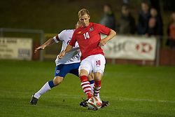 NEWTOWN, WALES - Tuesday, September 14, 2010: Wales' Jack Christopher (Haverfordwest County) in action against England during the Under-23 Semi-Pro International Friendly match at Latham Park. (Photo by David Rawcliffe/Propaganda)