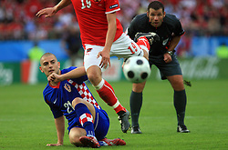 Mladen Petric of Croatia and referee Pieter Vink looking the ball during the UEFA EURO 2008 Group B soccer match between Austria and Croatia at Ernst-Happel Stadium, on June 8,2008, in Vienna, Austria.  (Photo by Vid Ponikvar / Sportal Images)