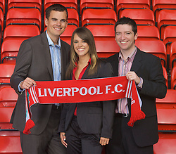 LIVERPOOL, ENGLAND - Thursday, September 6, 2007: Liverpool FC.TV presenters Peter McDowall (R), Matt Critchley and Claire Rourke at Anfield. (Photo by David Rawcliffe/Propaganda)
