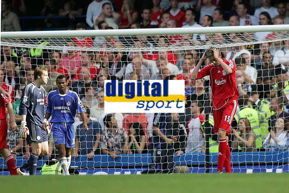 Photo: Lee Earle.<br /> Chelsea v Liverpool. The Barclays Premiership. 17/09/2006. Liverpool's Peter Crouch (R) looks dejected after going close.