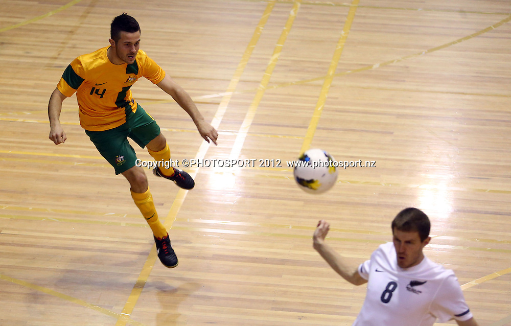 Aaron Cimitle of Australia shoots at goal. ASB Trans Tasman Cup, Futsal Whites v Futsal Roos, ASB Stadium, Kohimarama, FSaturday 22 September 2012. Photo: Simon Watts/photosport.co.nz