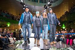 09.10.2015, Europapark, Salzburg, AUT, Praesentation der OeSV Winterkollektion, ??, im Bild v.l. Matthias Mayer, Nicole Schmidhofer, Cornelia Hütter, Vincent Kriechmayr // during Fashion Show of the Presentation of OeSV winter collection of Austrian Ski Federation OeSV at the Europapark in Salzburg, Austria on 2015/10/09. EXPA Pictures © 2015, PhotoCredit: EXPA/ Johann Groder