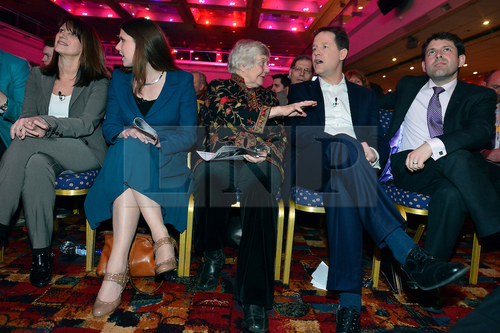 © Licensed to London News Pictures. 08/03/2013. Brighton, UK. Left to tight - Lynn Featherstone, Joe Swinson, Shirley Williams, Nick Clegg. Leader of the Liberal democrats and Deputy Prime Minister Nick Clegg talks to delegates on International Women's Day at the Party Rally Liberal Democrat Spring Conference in Brighton today 8th March 2013. Photo credit : Stephen Simpson/LNP