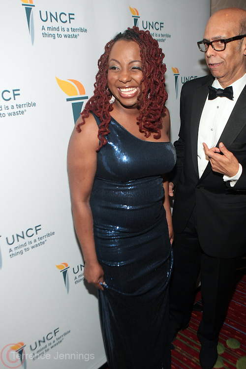 "New York, NY- MARCH 1:  (L -R) Recording Artist Ledisi and President & CEO, UNCF Dr. Michael Lomax at the UNCF "" A Mind is "" Gala held at the Marriott Marquis Hotel on March 1, 2012 in New York City. Photo Credit: Terrence Jennings"