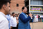 """The Pakistani community in Barcelona condemns in a solemn act the attacks perpetrated by the ISIS on 17 August on the Ramblas and in Cambrils. About 200 people gathered to read a manifest that pointed as """"cruel and cowards"""" the attacks, also repudiated all terrorist violence against humanity. The solidarity and sadness of this community towards the victims also became evident with messages of support and affection towards Barcelona, remembering that Barcelona is a peaceful city that went out massively to the street in a """"Stop the War"""" in Iraq in 2003, a city that """"lives and lets live"""". The Prime Minister of Pakistan sent a missive conveying his deepest condolences to the innocent victims and their families, a pain that for Pakistan is known due to the many terrorist attacks that has suffered. The event was held discreetly in a central area of Barcelona, but far away from the gaze of thousands of civilians who expressed their sadness in the Rambla de Canaletes. The catalan motto """"no tinc por"""" meaning """"I'm not scared"""" also was between the placards in this call. <br /> Place: Jardins de les Tres Xemeneies. Date: august 19, 2017. Photo: Eva Parey/4SEE"""