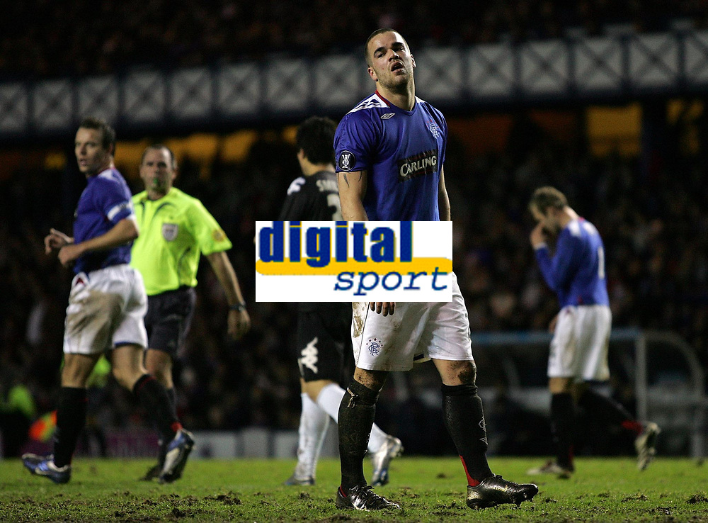 Photo: Paul Thomas.<br /> Glasgow Rangers v Partizan Belgrade. UEFA Cup. 14/12/2006.<br /> <br /> A dejected Ranger Filip Sebo after missing a good chance to score during the first half.
