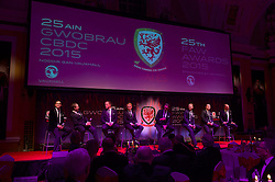 CARDIFF, WALES - Monday, October 5, 2015: Men's Choir Only Men Aloud perform during the FAW Awards Dinner Dinner at Cardiff City Hall. (Pic by Ian Cook/Propaganda)