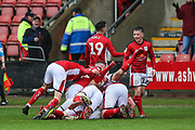 Crewe Alexandra's Charlie Kirk(20) scores a goal 4-3 and wins the match for Crewe and celebrates with his team mates during the EFL Sky Bet League 2 match between Crewe Alexandra and Forest Green Rovers at Alexandra Stadium, Crewe, England on 27 April 2019.