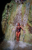 02132 Waterfall Woman Colorado River travertine wet cool splash