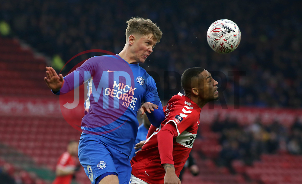 Mark O'Hara of Peterborough United beats Rajiv van la Parra of Middlesbrough in the air - Mandatory by-line: Joe Dent/JMP - 05/01/2019 - FOOTBALL - Riverside Stadium - Middlesbrough, England - Middlesbrough v Peterborough United - Emirates FA Cup third round proper