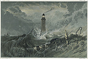 Eddystone lighthouse, built on the Eddystone Rock by the English Civil Enggineer John Smeaton from 1757-1759. Chromolithograph after painting by JMW Turner