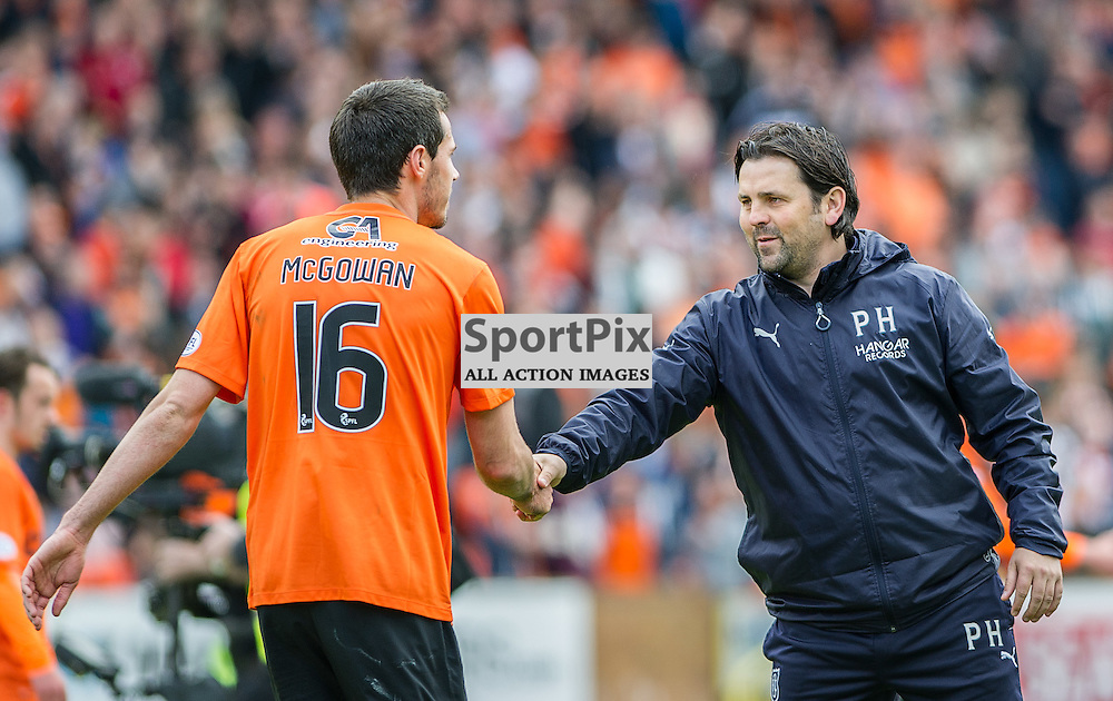 Dundee United v Dundee, SPFL Premiership, Tannadice Park, 24 May 2015<br />Ryan McGowan of United shakes hands with ex-Hearts team mate and Dundee manager Paul Hartley after the final Dundee derby of the 2014/15 season at Tannadice Park.<br />ROSS PARKER | SportPix.org.uk