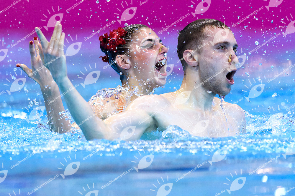 REZNIK Kateryna / TIMOFEYEV Anton UKR Ukraine <br /> Mixed Duet Final <br /> London, Queen Elizabeth II Olympic Park Pool <br /> LEN 2016 European Aquatics Elite Championships <br /> Synchronized Swimming <br /> Day 05 13-05-2016<br /> Photo Andrea Staccioli/Deepbluemedia/Insidefoto