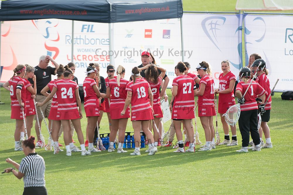 Canadian team time out at the 2017 FIL Rathbones Women's Lacrosse World Cup at Surrey Sports Park, Guilford, Surrey, UK, 15th July 2017