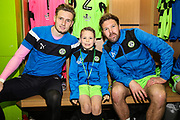 Matchday mascot with Forest Green Rovers goalkeeper Bradley Collins(1) and Forest Green Rovers Scott Laird(3) during the EFL Sky Bet League 2 match between Forest Green Rovers and Mansfield Town at the New Lawn, Forest Green, United Kingdom on 24 March 2018. Picture by Shane Healey.