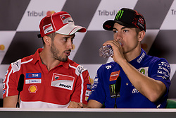 September 7, 2017 - San Marino, RN, Italy - Andrea Dovizioso of Ducati Team and Maverick Vinales of Movistar Yamaha MotoGP during the presentation press conference of the Tribul Mastercard Grand Prix of San Marino and Riviera di Rimini, at Misano World Circuit ''Marco Simoncelli'', on September 07, 2017 in Misano Adriatico, Italy  (Credit Image: © Danilo Di Giovanni/NurPhoto via ZUMA Press)