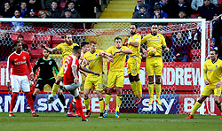 Josh Magennis of Charlton Athletic shoots at goal from a free kick over the Bristol Rovers wall - Mandatory by-line: Robbie Stephenson/JMP - 02/01/2017 - FOOTBALL - The Valley - Charlton, London, England - Charlton Athletic v Bristol Rovers - Sky Bet League One