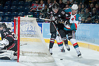 KELOWNA, CANADA -FEBRUARY 5: Damon Severson #7 of the Kelowna Rockets checks Haydn Fleury D #4 of the Red Deer Rebels behind the net on February 5, 2014 at Prospera Place in Kelowna, British Columbia, Canada.   (Photo by Marissa Baecker/Getty Images)  *** Local Caption *** Damon Severson; Haydn Fleury;