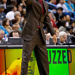 December 17, 2010; New Orleans, LA, USA; New Orleans Hornets head coach Monty Williams during the second half of a game against the Utah Jazz at the New Orleans Arena.  The Hornets defeated the Jazz 100-71. Mandatory Credit: Derick E. Hingle