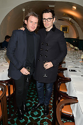 Left to right, CHRISTOPHER KANE and ERDEM MORALIOGLU at a dinner in honour of Christy Turlington hosted by Porter magazine at Mr Chow, Knightsbridge, London on 18th November 2014.