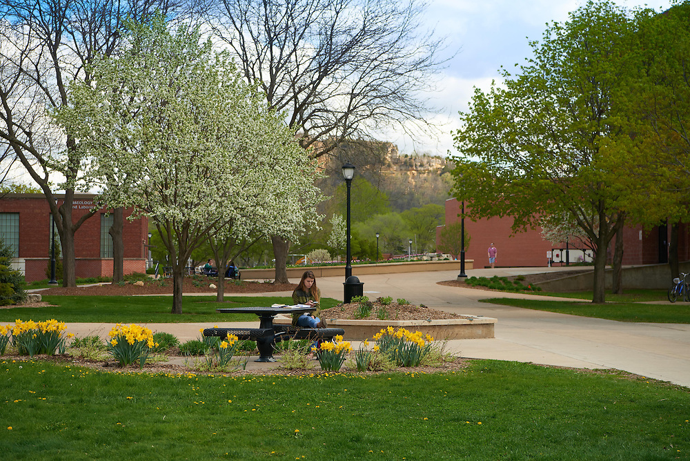 Activity; Studying; Buildings; Bluffs; Location; Outside; Objects; Flowers; People; Woman Women; Student Students; Time/Weather; cloudy; day; Spring; April; Type of Photography; Candid; UWL UW-L UW-La Crosse University of Wisconsin-La Crosse