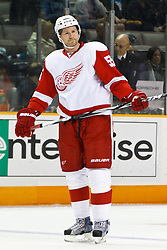 March 3, 2011; San Jose, CA, USA;  Detroit Red Wings defenseman Niklas Kronwall (55) warms up before the game against the San Jose Sharks at HP Pavilion.  San Jose defeated Detroit 3-1. Mandatory Credit: Jason O. Watson / US PRESSWIRE