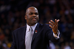 Feb 15, 2012; Oakland, CA, USA; Portland Trail Blazers head coach Nate McMillan on the sidelines against the Golden State Warriors during the second quarter at Oracle Arena. Mandatory Credit: Jason O. Watson-US PRESSWIRE