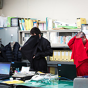 KOKA, JAPAN - FEBRUARY 20 : Koka city tourism division staffs wearing ninja costumes before work at the Koka City Hall on February 20, 2017 in Koka, Shiga Prefecture, Japan. Koka city, known as the 'Koga' Ninja clan hometown, promotes the Ninja-day, which is February 22. (Photo by Richard Atrero de Guzman/NUR Photo)