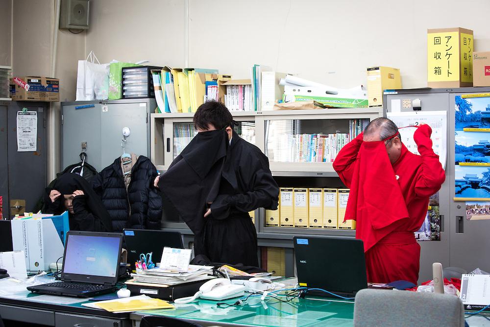 KOKA, JAPAN - FEBRUARY 20 : Koka city tourism division staffs wearing ninja costumes before work at the Koka City Hall on February 20, 2017 in Koka, Shiga Prefecture, Japan. Koka city, known as the 'Koga' Ninja clan hometown, promotes the Ninja-day, which is February 22. (Photo by Richard Atrero de Guzman/NUR Photo)