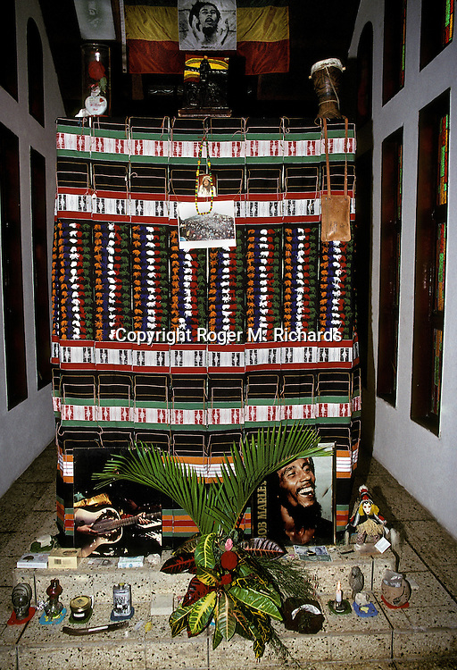The burial crypt of Reggae superstar Bob Marley, with his personal possessions around him, July 1991, in the valley of Nine Miles in St. Ann, Jamaica. Bob Marley died of cancer in a Miami hospital at the age of 36 on May 11, 1981. (Photo by Roger M. Richards)