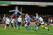 Paddy Madden of Scunthorpe United fails to reach the crossed ball in front of the goal during the Sky Bet League 1 match between Scunthorpe United and Bradford City at Glanford Park, Scunthorpe, England on 21 November 2015. Photo by Ian Lyall.